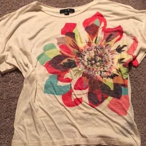 Forever21 Flutter Sleeve Colorful Sunflower Size M